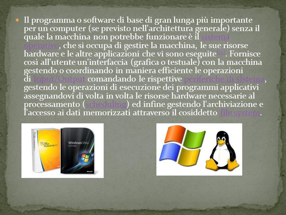 Il programma o software di base di gran lunga più importante per un computer (se previsto nell architettura generale) senza il quale la macchina non potrebbe funzionare è il sistema operativo, che si occupa di gestire la macchina, le sue risorse hardware e le altre applicazioni che vi sono eseguite[13].